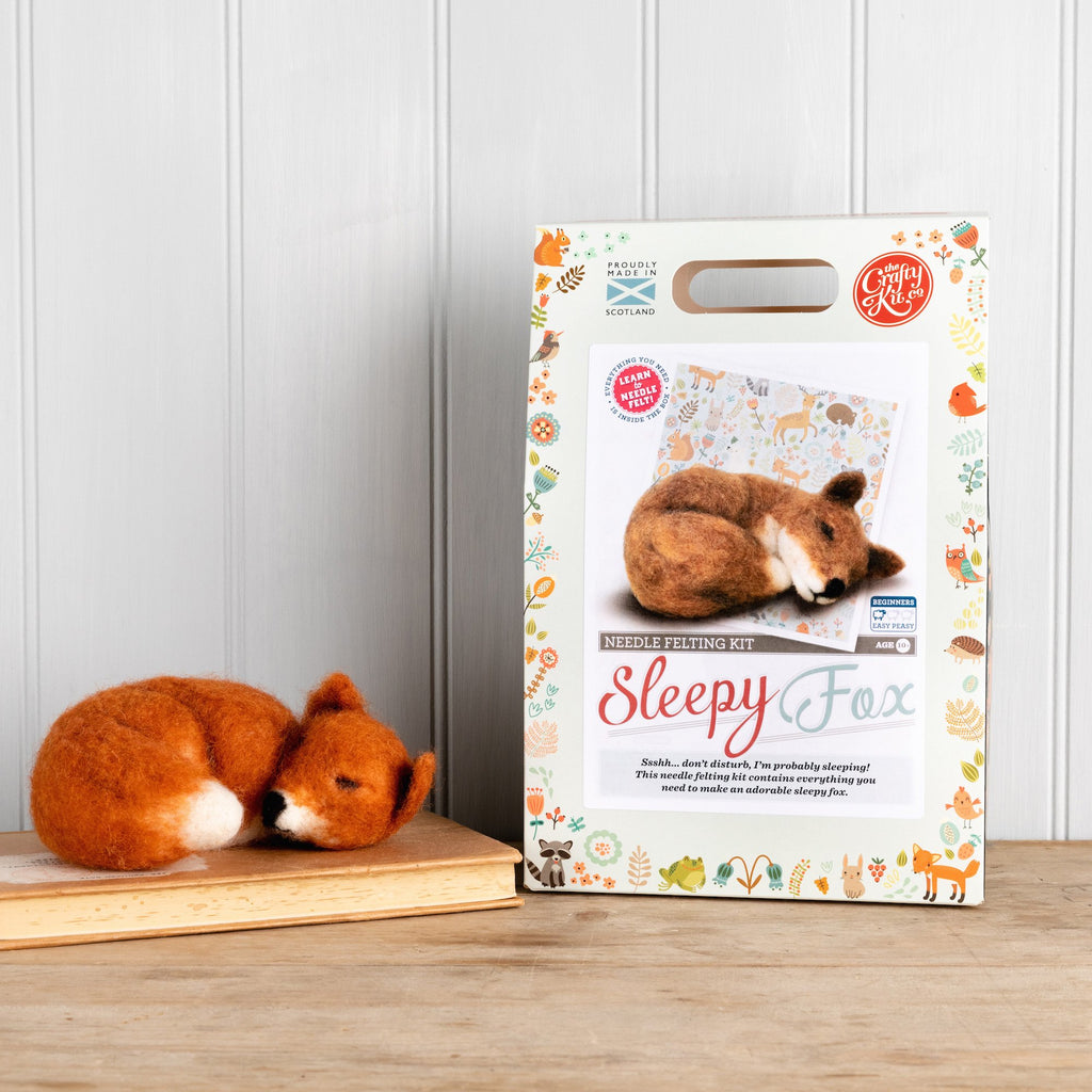 The Crafty Kit Company Sleepy Fox Needle Felting Kit, finished fox and box