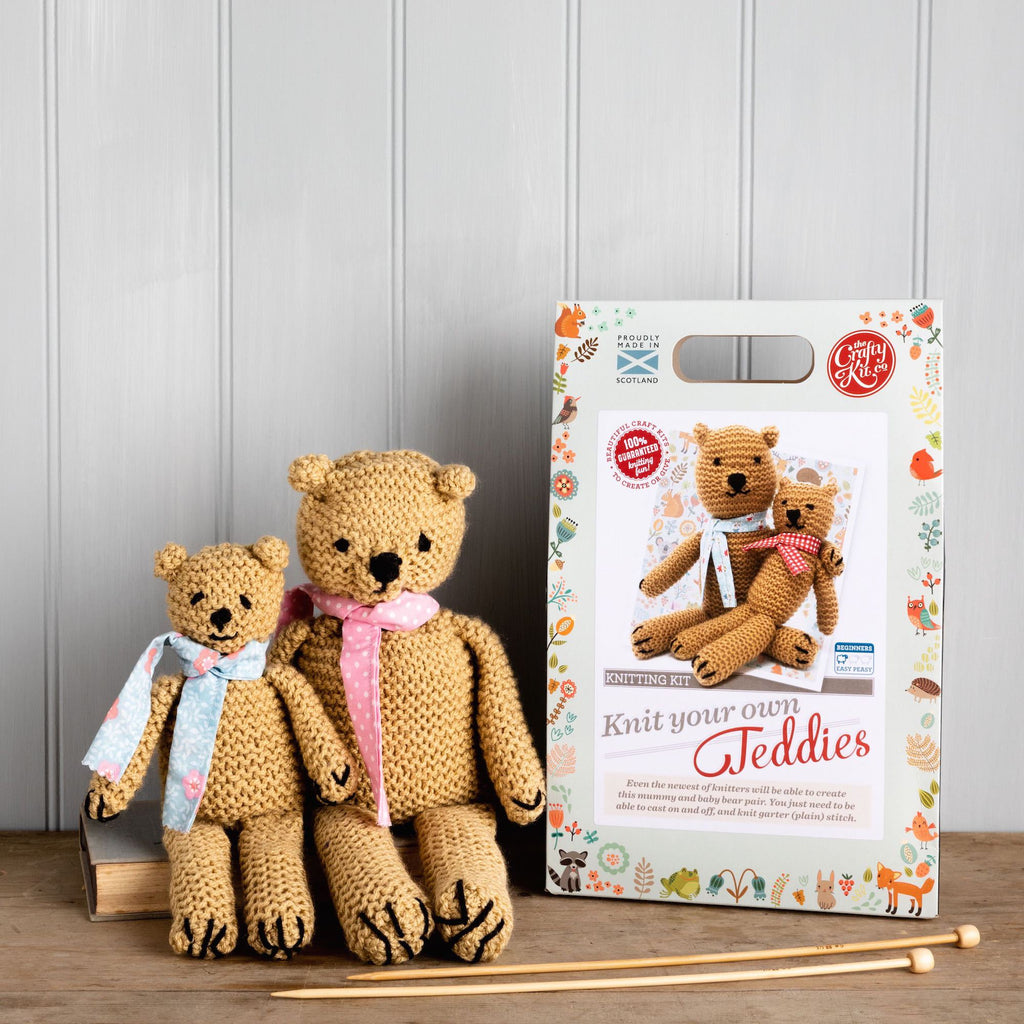 The Craft Kit Company Teddies Knitting Kit, Finished Teddies and Box with Knitting Needles in Front