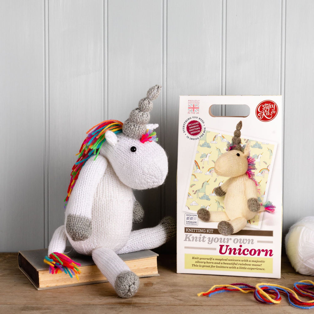 The Craft Kit Company Unicorn Knitting Kit, finished unicorn and box