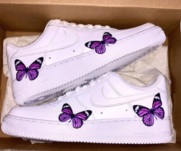 PURPLE BUTTERFLY HEAT STICKER DECALS FOR FABRIC , SHOES, PLASTIC
