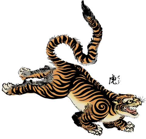 JAPANESE TIGER HEAT STICKER DECALS FOR FABRIC , SHOES, PLASTIC