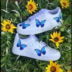 BLUE BUTTERFLY HEAT STICKER DECALS FOR FABRIC , SHOES, PLASTIC