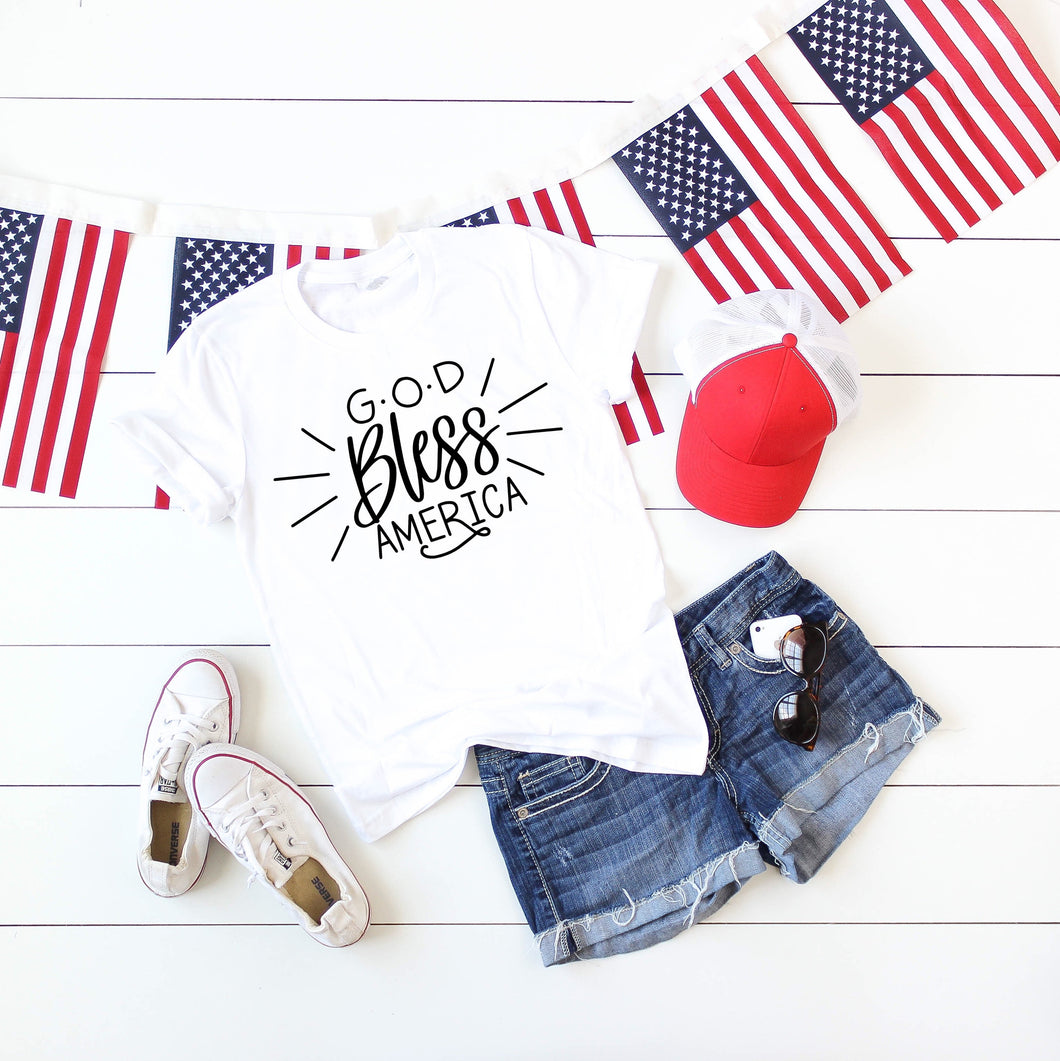 God Bless America Tee (White, Red, Blue)
