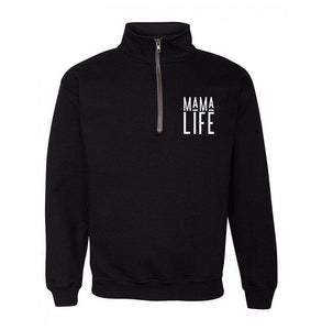 MAMA LIFE Black Quarter Zip Up