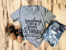 Load image into Gallery viewer, Sundays Are For Jesus And Football Tee (White Fleck, Gray)
