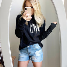 Load image into Gallery viewer, MAMA LIFE Black Raw Edge Hoodie