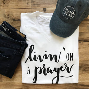 Livin On A Prayer White V-Neck Tee