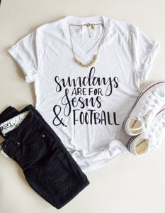 Sundays Are For Jesus And Football Tee (White Fleck, Gray)