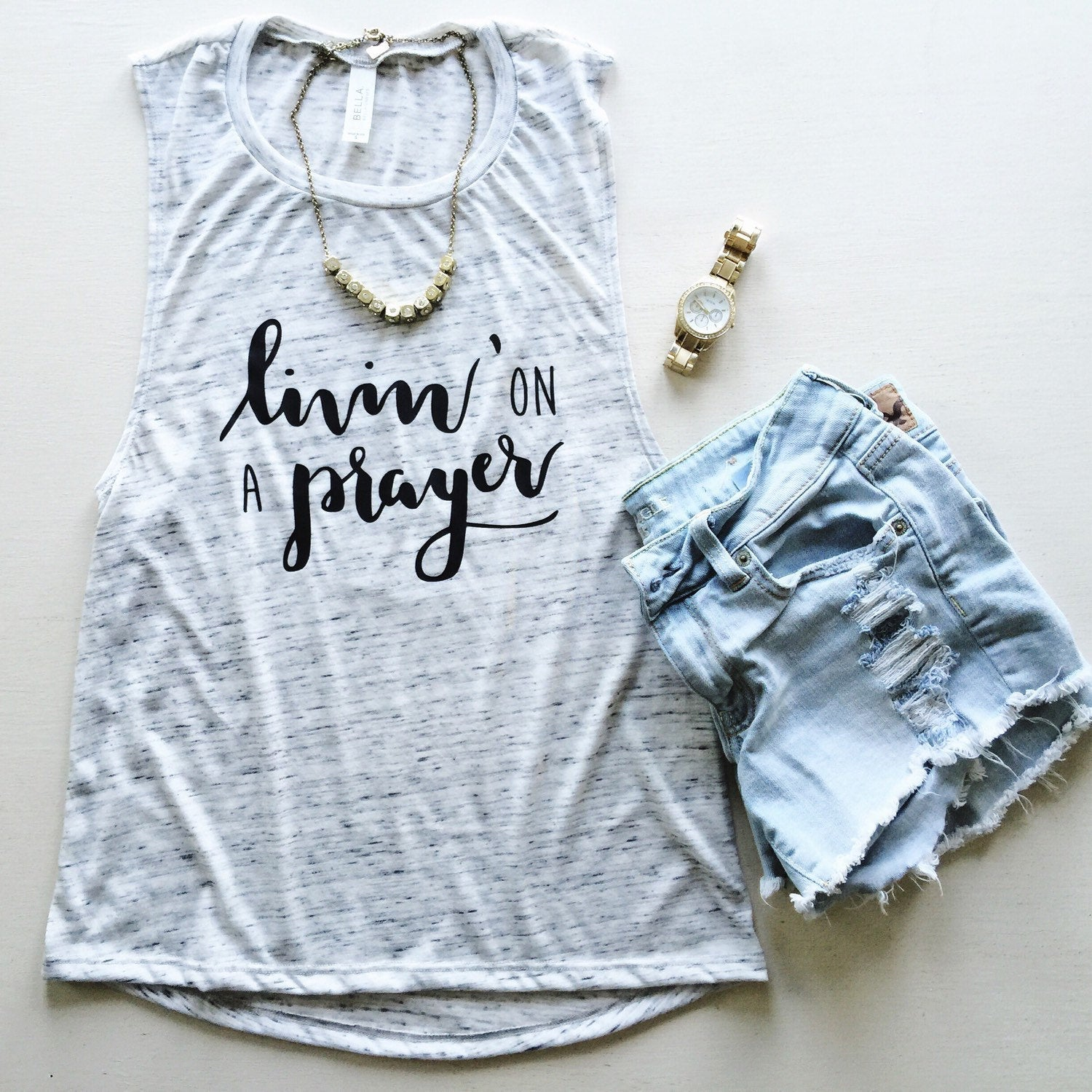 Livin' On A Prayer White Marble Muscle Tank
