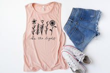 Load image into Gallery viewer, Be The Light Floral Peach Muscle Tank