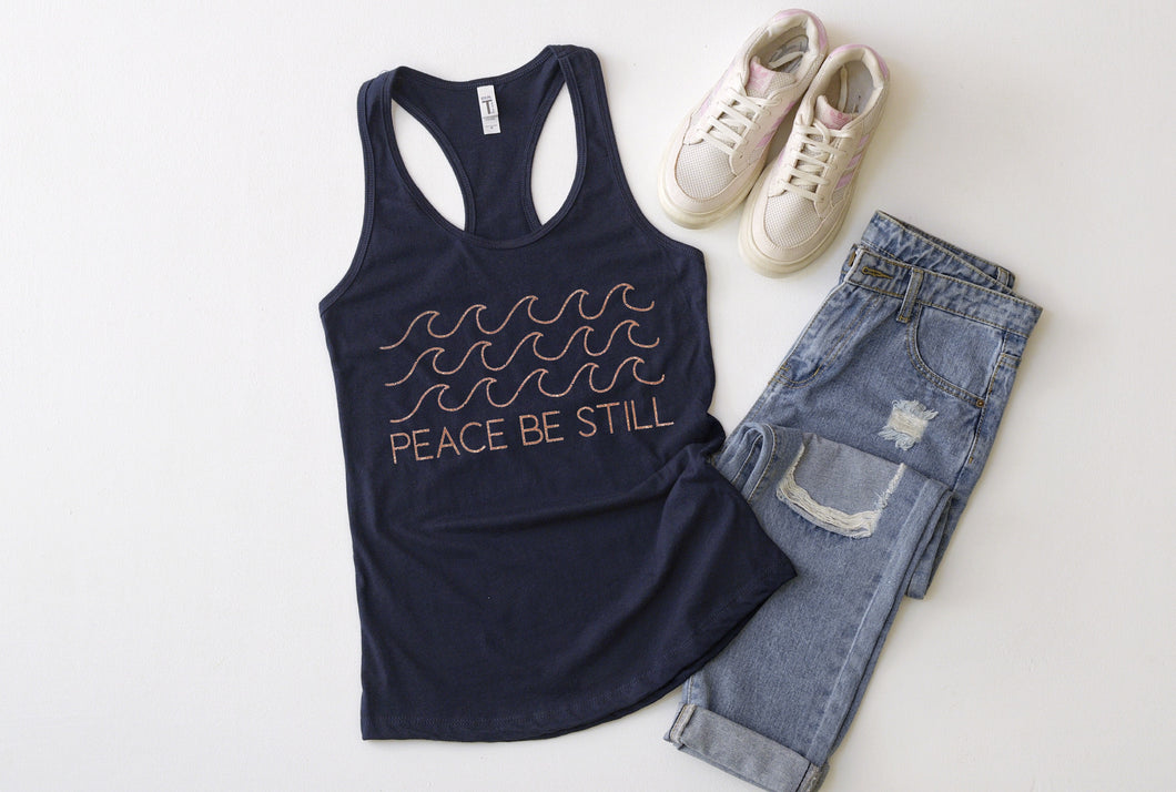Peace Be Still Navy Tank with Rose Gold Ink