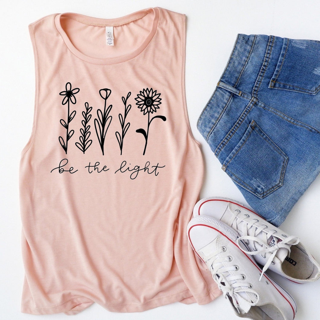 Be The Light Floral Peach Muscle Tank