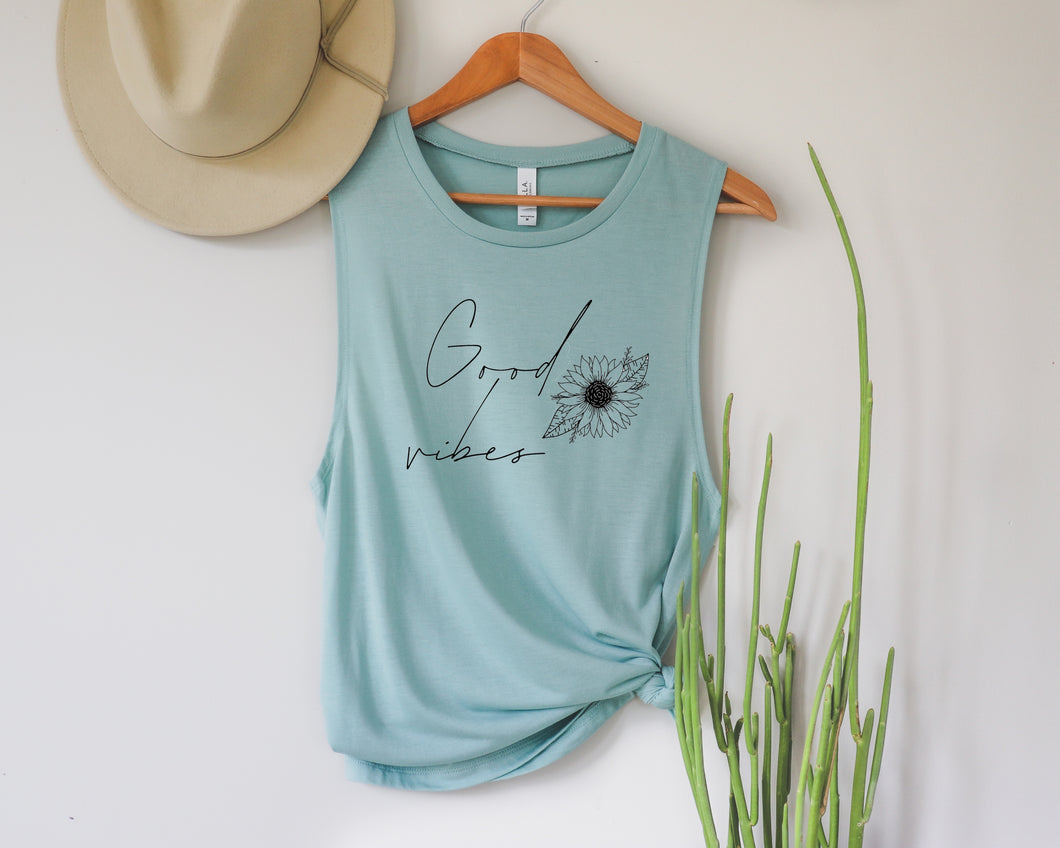 Good Vibes Dusty Blue Muscle Tank