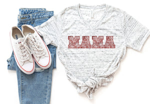 MAMA Red ShimmerWhite Marble V-Neck Tee *STEAL DEAL NO CODES*