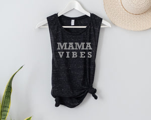 Mama Vibes Black Marble muscle tank - Silver Shimmer ink