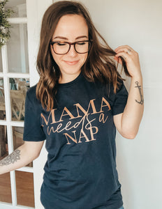 Mama Needs A Nap Navy Tee with Rose Gold Ink