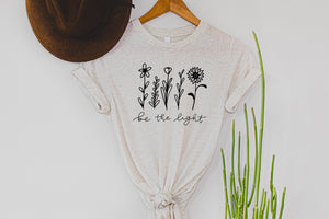 Floral Be The Light Oatmeal Tee