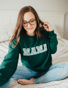 MAMA Floral Forest Green Sweatshirt