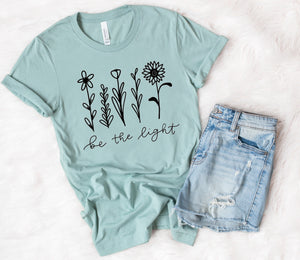 Dusty Blue Be The Light Tee