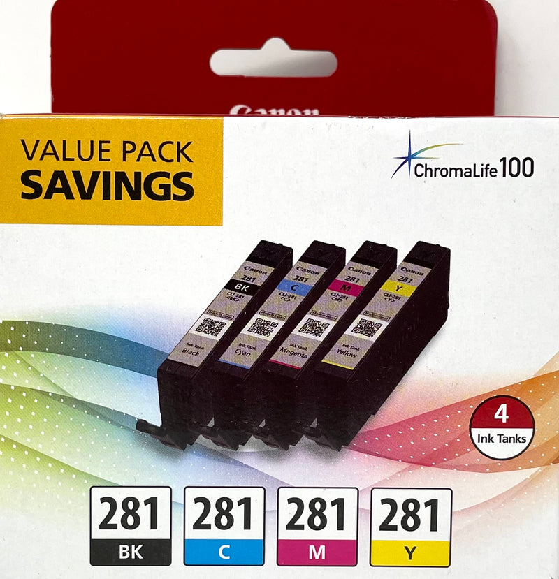 Genuine Canon® CLI-281 Black, Cyan, Magenta, Yellow Ink Cartridge, 4/Pack