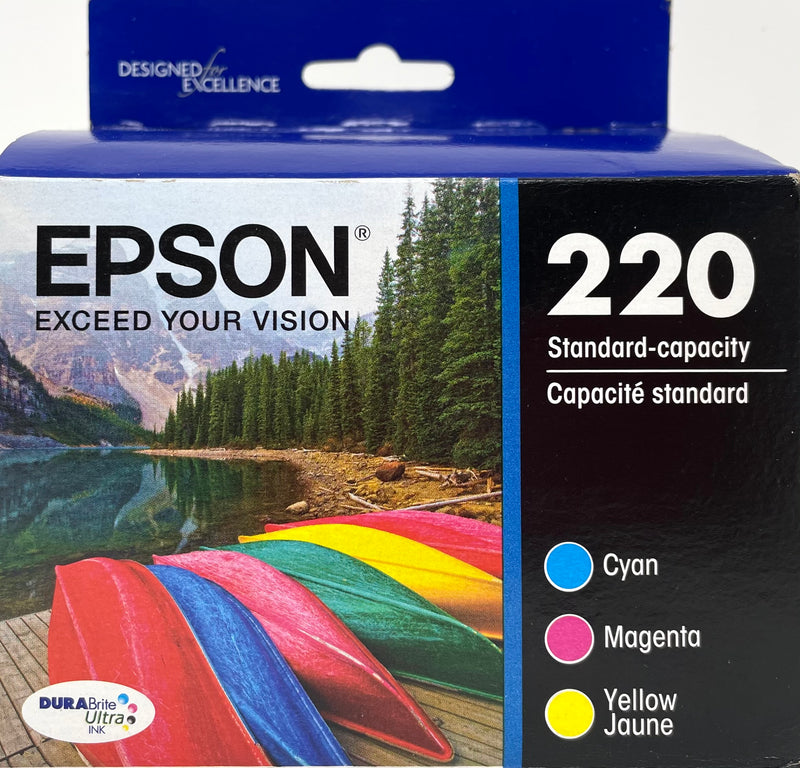 Genuine Epson® 220 Color Combination Ink Cartridges, Standard, 3/Pack (T220520-S)