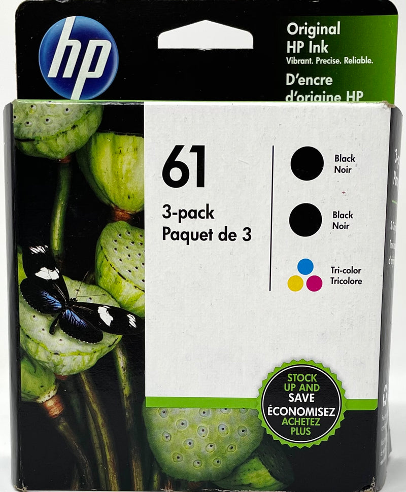 HP 61 3-pack Black/Tri-color Original Ink Cartridges, Multi-pack (1VW07AN)