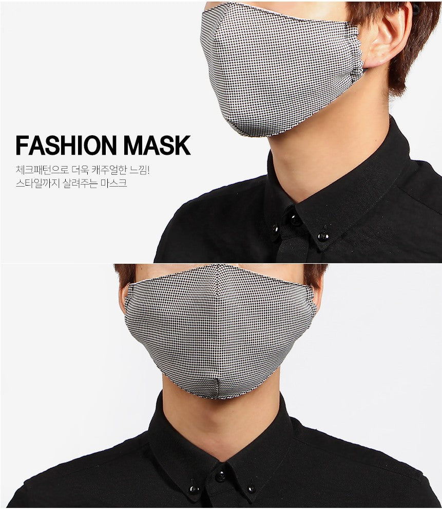 Double Layered Cotton Face Mask - Plaid Black (Reusable)