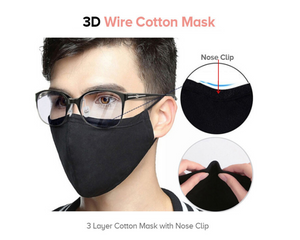 3D Triple Layered Cotton Face Mask with Nose Clip (Reusable)