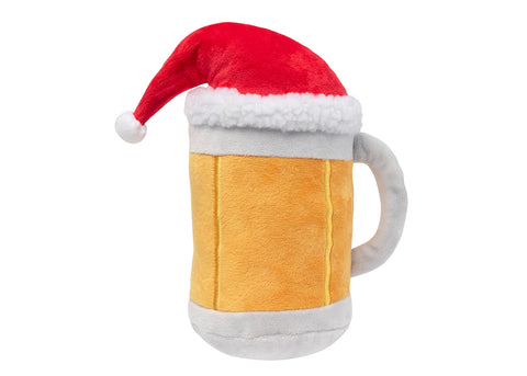 FuzzYard Beer Mug with Xmas Hat Dog Toy