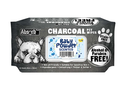 Absorb Plus Charcoal Pet Wipes Baby Powder - 80 Sheets