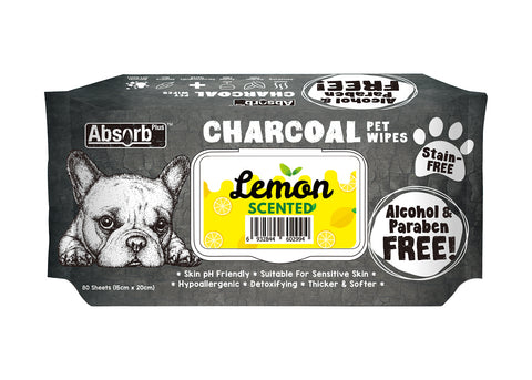 Absorb Plus Charcoal Pet Wipes Lemon - 80 Sheets