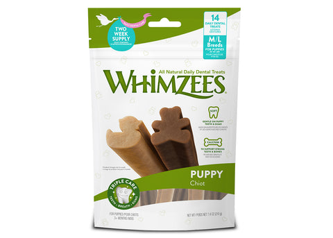 Whimzees Puppy Dental Treat - Medium and Large Breed