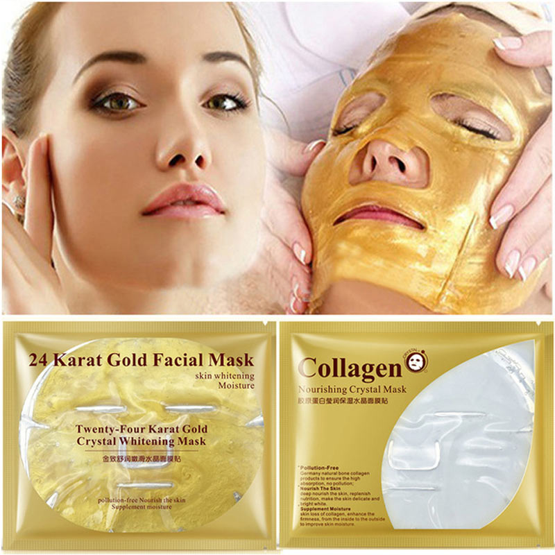 24K gold collagen face masks