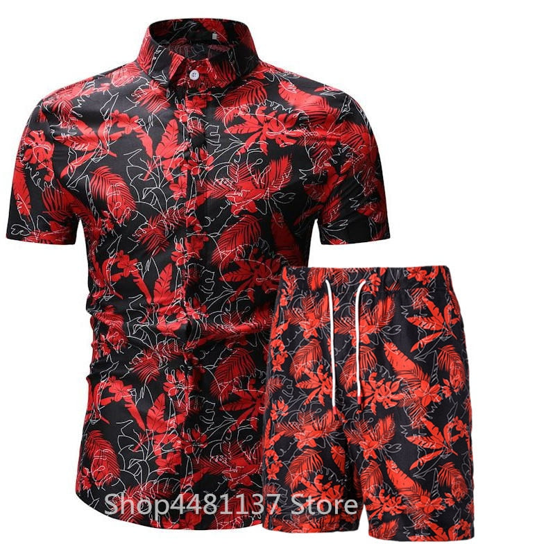 Fashion men clothes set summer Flower tshirt