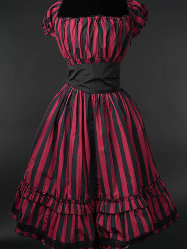 Red Striped Summer Jurk - Divine-Darkness