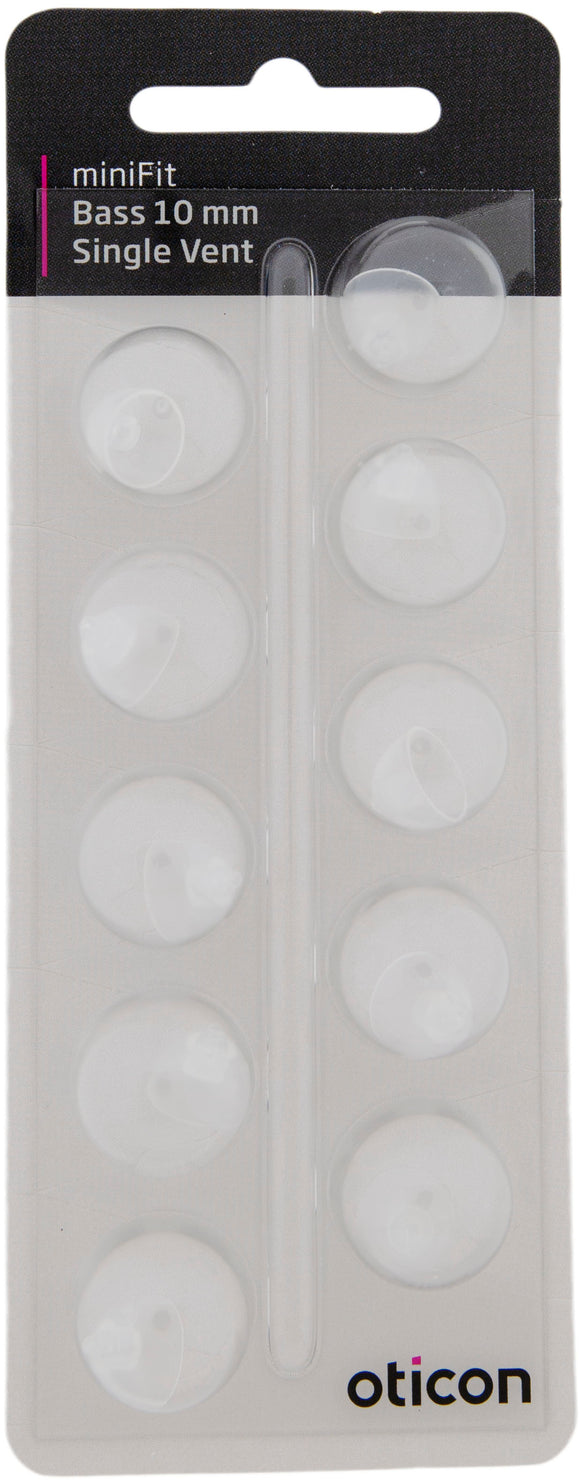 Oticon miniFit Bass Single Vent 10mm Domes (10 domes)
