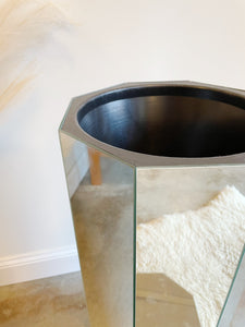 Circa 1970 Luxe Mid Century Modern Octagonal Bevel Mirrored Pedestal // Ice Bucket //Plantstand  on Floating  Base