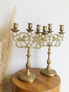 Pair of Ornate Brass Lion Candelabras