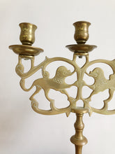 Load image into Gallery viewer, Pair of Ornate Brass Lion Candelabras