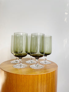 Set of Five Crystal Fostoria Glass Company //Glamour Green Glasses