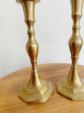 Load image into Gallery viewer, Pair of Brass Candlestick Holders