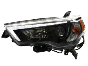 2014-2020 Toyota 4Runner DEPO White LED DRL Light Bar Eyebrow with Built-in LED Low Beam Projector Headlight