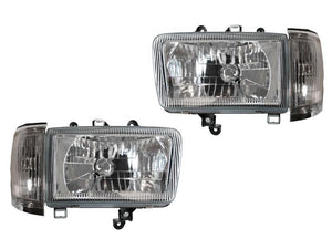 1992-1995 Toyota 4Runner Euro Crystal Style GLASS Lens Front Headlight with Matching Corner Light Set Made by DEPO-Lighting-4Runner-Depot-HL-TY-4RUN-92-E-C-SET + CL-TY-4RUN-92-C-CLR-SET-4Runner-Depot