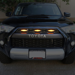 2014-2020 Toyota 4Runner RAPTOR Style Quad LED Grill Light / Plug & Play to TRD Pro Black Mesh Grill Insert Screw On 3pcs