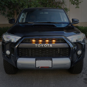 2014-2020 Toyota 4Runner RAPTOR Style Quad LED Grill Light / Plug & Play to TRD Pro Black Mesh Grill Insert Snap On 4pcs