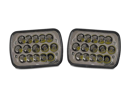 Full LED High and Low Beam 7x6 H6054 Pair Sealed Beam Conversion Headlight with Polarity Correction Module-Lighting-4Runner-Depot-HL-H7x6LED x2 + MOD-HL-LED-H4 x1P-4Runner-Depot