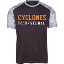 Load image into Gallery viewer, Cyclones Bar Logo (orange) Youth CamoHex Colorblock T-Shirt