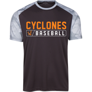Cyclones Bar Logo (orange) Youth CamoHex Colorblock T-Shirt