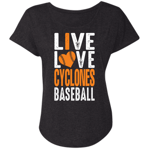 I Love Cyclones Baseball Ladies' Triblend Dolman Sleeve