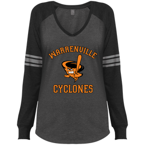 Cyclones Full Logo (bk/or) Ladies' Game LS V-Neck T-Shirt
